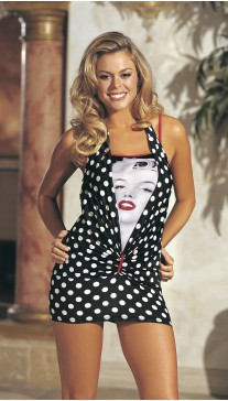 PORTRAIT MARILYN PRINT AND POLKADOT KNIT CHEMISE