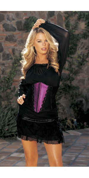 Stretch satin and black lace waist cincher