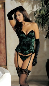 Velvet flocked satin strapless corset