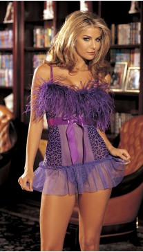 STRETCH MESH LEOPARD PRINT CHEMISE WITH OSTRICH FEATHERS