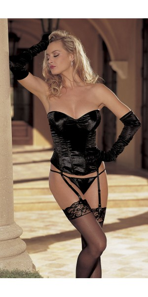 Animal embossed stretch satin strapless corset